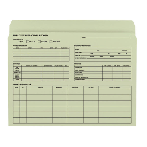 Smead Employee Record File Folder, Straight-Cut Tab, Letter Size, Moss, 20 per Pack (77000)