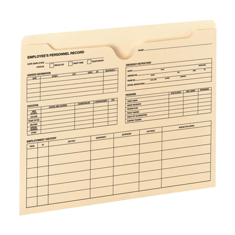 Smead Employee Record File Jacket, Reinforced Straight-Cut Tab, Flat-No Expansion, Letter Size, Manila, 20 per Pack (77100 )