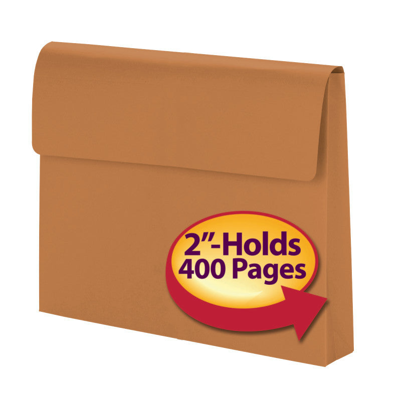 "Smead Expanding Wallet, 2"" Expansion, Flap with Hook and Loop Closure, Letter Size, Redrope, 50 per Box (77142)"
