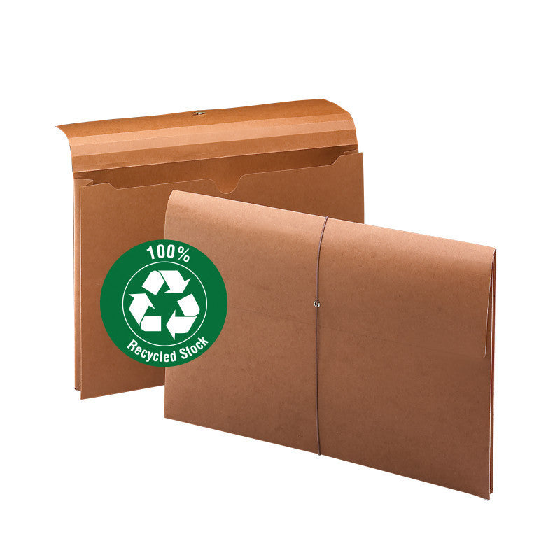 "Smead Wallet, 2"" Expansion, 100% Recycled, Legal Size, Elastic Closure, Redrope, 10 per Box (77171)"