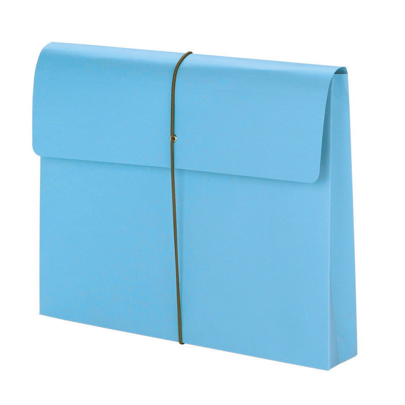 "Smead Expanding File Wallet, 2"" Expansion, Protective Flap and Cord Closure, Letter Size, Blue, 10 per Box (77203)"
