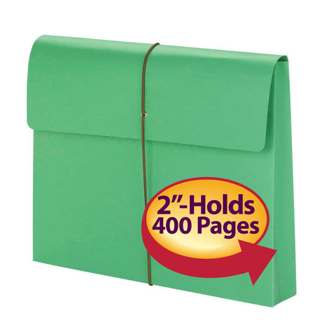 "Smead Expanding File Wallet, 2"" Expansion, Protective Flap and Cord Closure, Letter Size, Green, 10 per Box (77204)"
