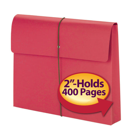 "Smead Expanding File Wallet, 2"" Expansion, Protective Flap and Cord Closure, Letter Size, Red, 10 per Box (77205)"