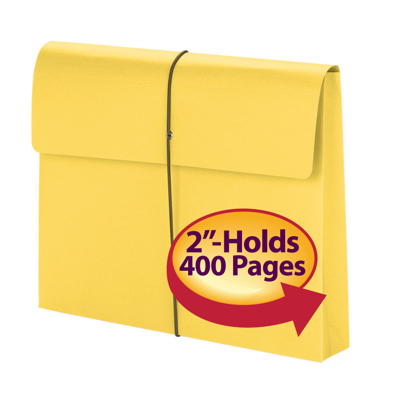 "Smead Expanding File Wallet, 2"" Expansion, Protective Flap and Cord Closure, Letter Size, Yellow, 10 per Box (77206)"