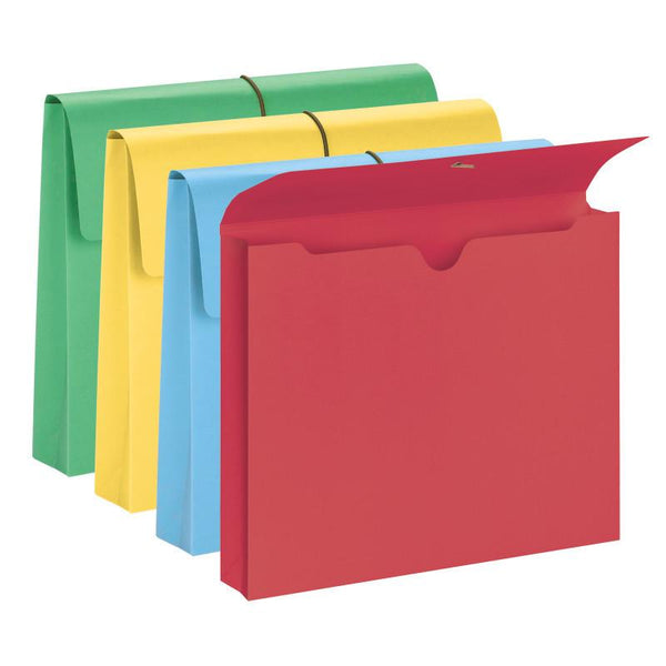 "Smead Expanding File Wallet, 2"" Expansion, Protective Flap and Cord Closure, Letter Size, Assorted Colors, 10 per Box (77207)"