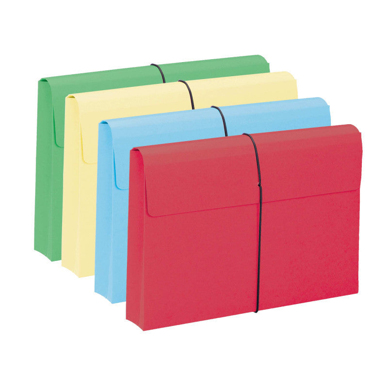 "Smead Expanding File Wallet, 2"" Expansion, Protective Flap and Cord Closure, Legal Size, Assorted Colors, 10 per Box (77212)"