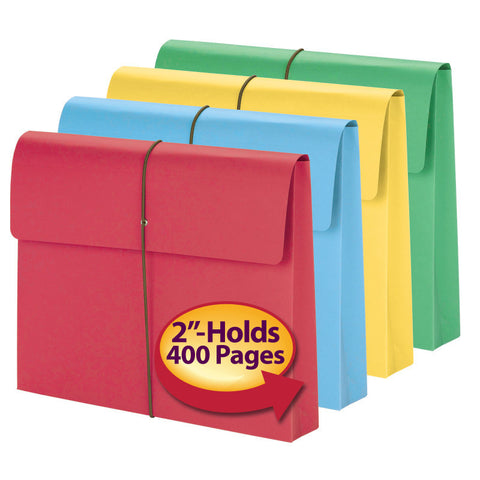 "Smead Expanding Wallet, 2"" Expansion, Flap and Cord Closure, Letter Size, Assorted Colors, 50 per Box (77251)"
