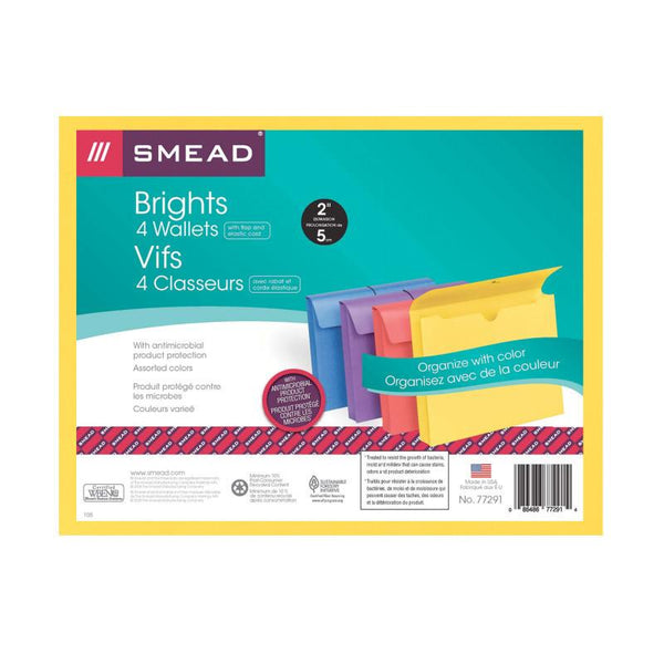 "Smead Expanding Wallet with Antimicrobial Product Protection, 2"" Expansion, Flap and Cord Closure, Letter Size, Assorted Colors, 4 per Pack (77291)"