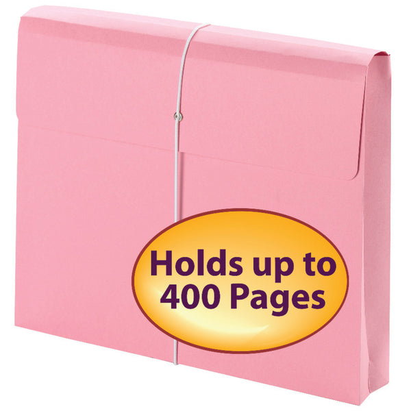 "Carton of 24 Smead Pink Expanding File Wallets, 2"" Expansion, Protective Flap and Cord Closure, Letter Size (77299)"