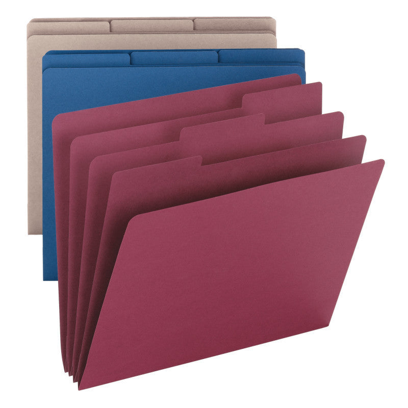 Smead Organizer File Folder, 1/3-Cut Tab, Letter Size, Assorted Colors, 3 per Pack (85785)