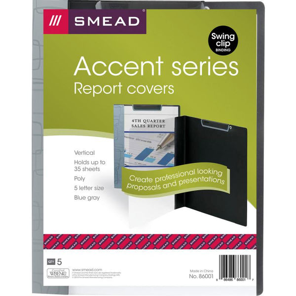 Smead Accent Series Poly Report Cover, Top Binding Clip, Letter Size, Blue Gray/Clear Front, 5 per Pack (86001)