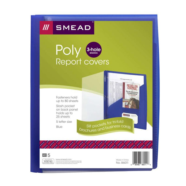 Smead Clear Front Poly Report Cover, 3 Tang-style Fasteners, Letter Size, Blue, 5 per Pack (86011)
