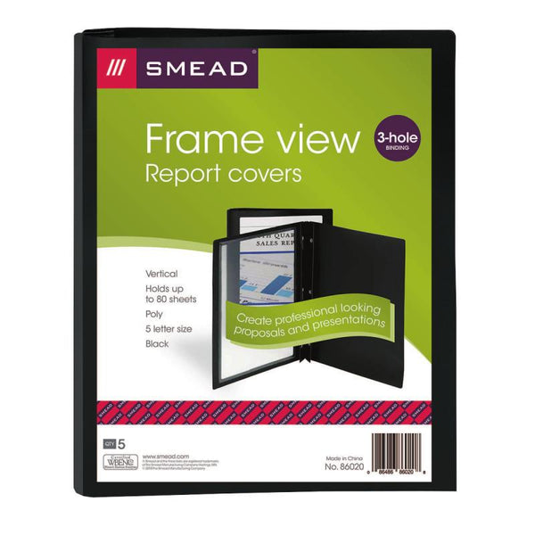 "Smead Frame View Poly Report Cover, Three 1/2"" Fasteners, Side Fastener, Letter Size, Black/Clear Front, 5 per Pack (86020)"