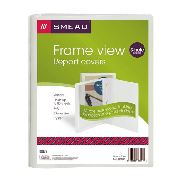 "Smead Frame View Poly Report Cover, Three 1/2"" Fasteners, Side Fastener, Letter Size, Oyster/Clear Front, 5 per Pack (86021)"