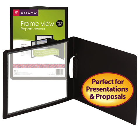 Smead Frame View Poly Report Cover with Swing Clip, Side Fastener, Letter Size (Landscape Orientation), Black/Clear Front, 5 per Pack (86040)