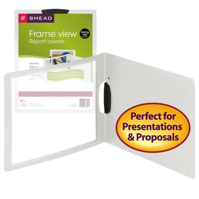 Smead Frame View Poly Report Cover with Swing Clip, Side Fastener, Letter Size (Landscape Orientation), Oyster/Clear Front, 5 per Pack (86041)