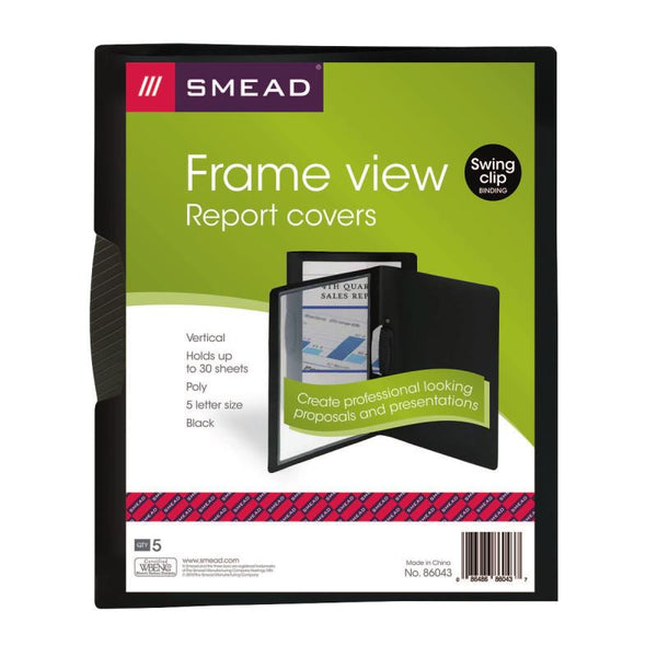 Smead Frame View Poly Report Cover with Swing Clip, Side Fastener, Letter Size (Portrait Orientation), Black/Clear Front, 5 per Pack (86043)