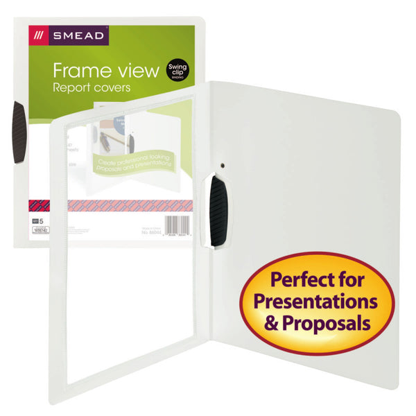 Smead Frame View Poly Report Cover with Swing Clip, Side Fastener, Letter Size (Portrait Orientation), Oyster/Clear Front, 5 per Pack (86044)