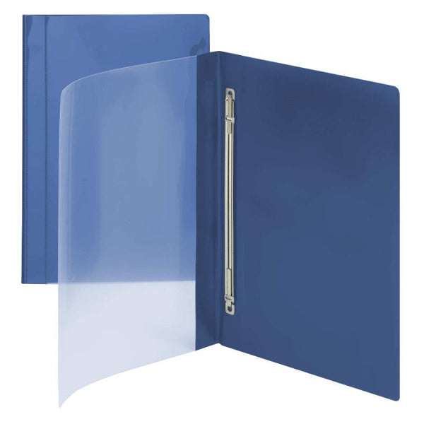 Smead Clear Front Poly Report Cover, Metal Fastener with Compressor, Side Fastener, Letter Size, Dark Blue, 10 per Pack (87411)