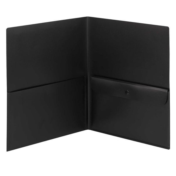 Smead Poly Two-Pocket Folder with Security Pocket, Holds up to 100 Sheets, Letter Size, Black, 5 per Pack (87700)