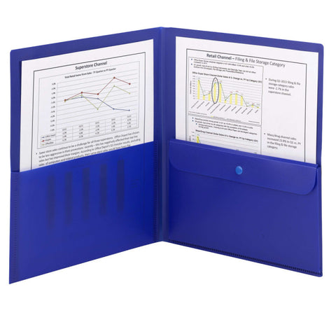 Smead Poly Two-Pocket Folder with Security Pocket, Letter Size, Dark Blue, 5 per Pack (87701)