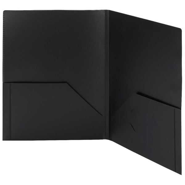 Smead Frame View Poly Two-Pocket Folder, Letter Size, Black, 5 per Pack (87705)