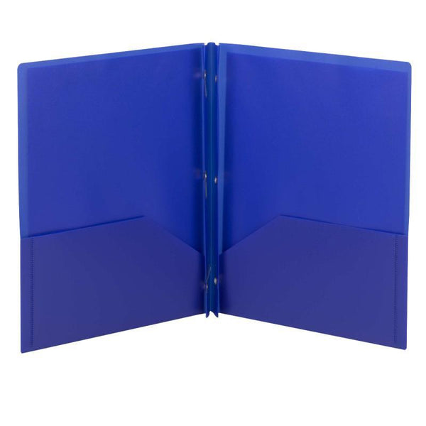 Smead Poly Two-Pocket Folder, Tang-style Fastener, Letter Size, Dark Blue, 25 per Box (87726)