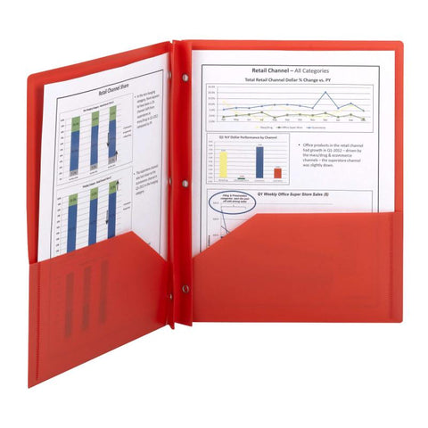 Smead Poly Two-Pocket Folder, Tang-style Fastener, Letter Size, Red, 25 per Box (87727)