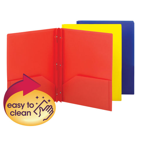 Smead Poly Two-Pocket Folder with Tang Style Fasteners, Letter Size, Assorted Colors, 6 per Pack (87746)