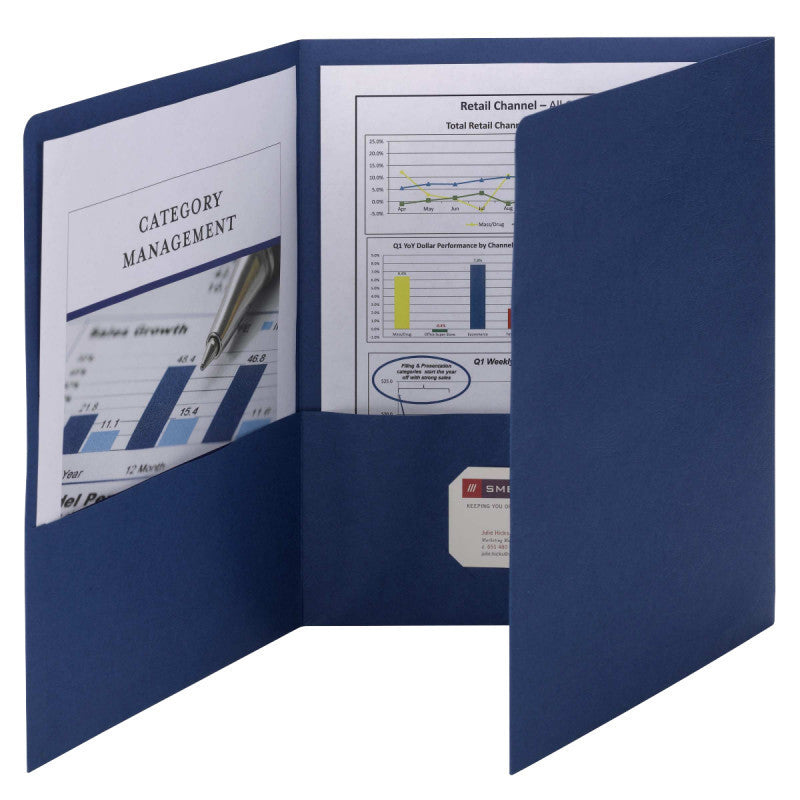 Smead Tri-Fold Pocket Folders, Letter Size, Dark Blue, 20 per Box (87813)