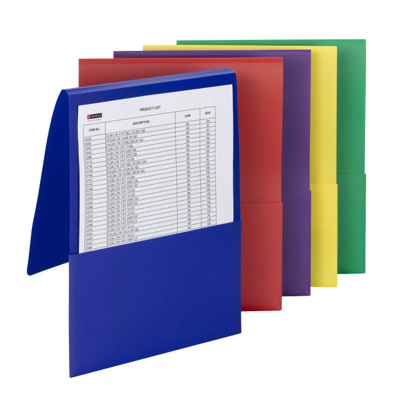 Carton of 50 Smead Poly Backpack File Folders, Letter Size, Assorted Colors (87844)