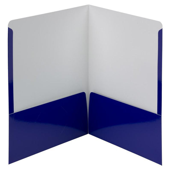 Smead High Gloss Two-Pocket Folders, Letter Size, Navy, 25 per Box (87877)