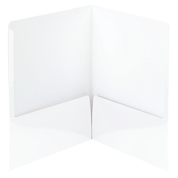 Smead High Gloss Two-Pocket Folders, Letter Size, White, 25 per Box (87883)