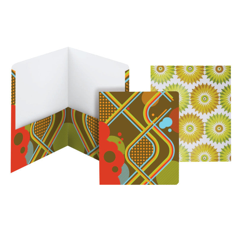 Carton of 50 Smead Style Collection Two-Pocket File Folders, Letter Size, Flower/Retro (87920)