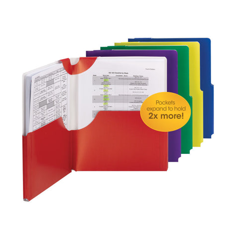 Carton of 25 Smead Big Pocket Lockit® Two-Pocket File Folders, Letter Size, Assorted Colors (87925)