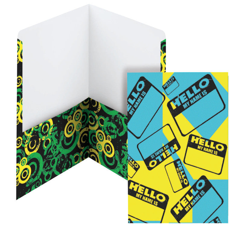 Carton of 50 Smead Style Collection Two-Pocket File Folder, Letter Size, Hello/Circles (87935)