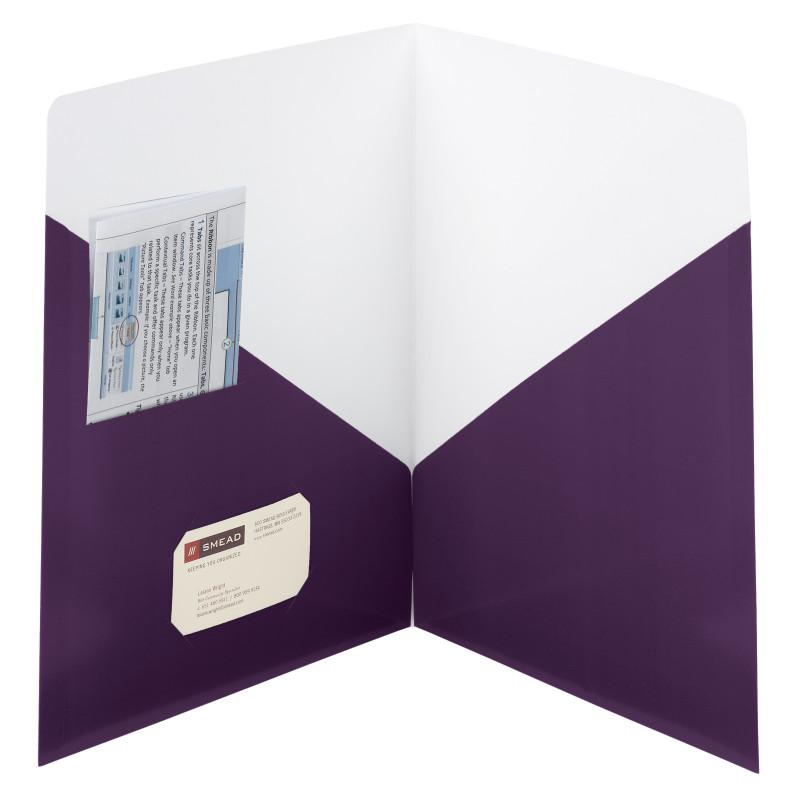 Smead Contemporary Two-Pocket Folders, Letter Size, Purple, 25 per Box (87961)