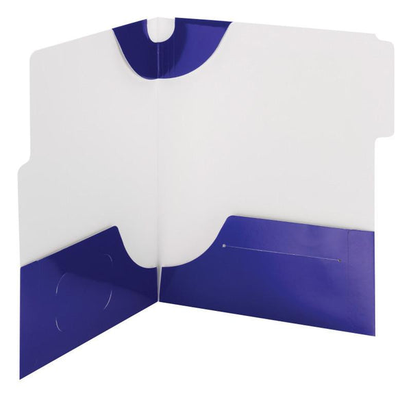 Smead SuperTab® Two-Pocket Folder, Extra Wide 1/3-Cut Tab First Position, Letter Size, Blue, 5 per Pack (87964)