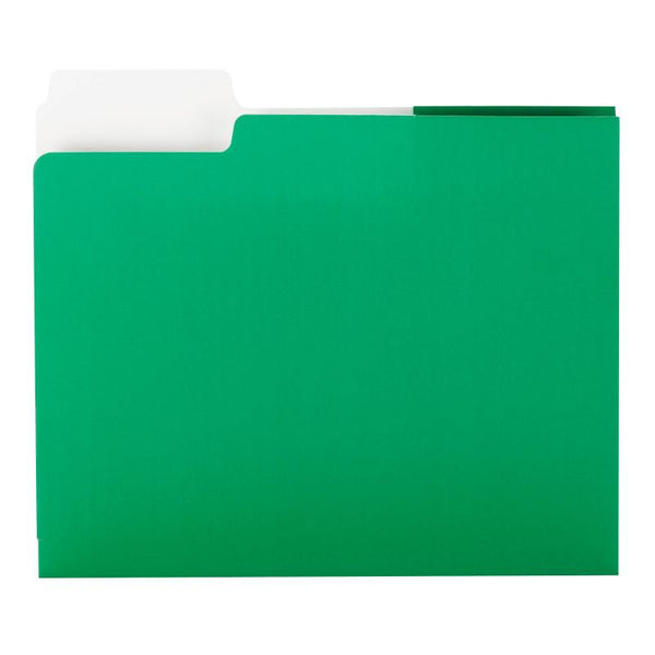 Smead SuperTab® Two-Pocket Folder, Extra Wide 1/3-Cut Tab First Position, Letter Size, Green, 5 per Pack (87965)