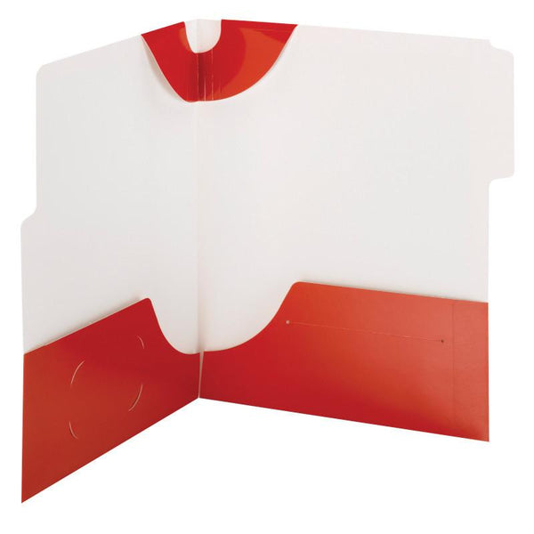 Smead SuperTab® Two-Pocket Folder, Extra Wide 1/3-Cut Tab First Position, Letter Size, Red, 5 per Pack (87966)