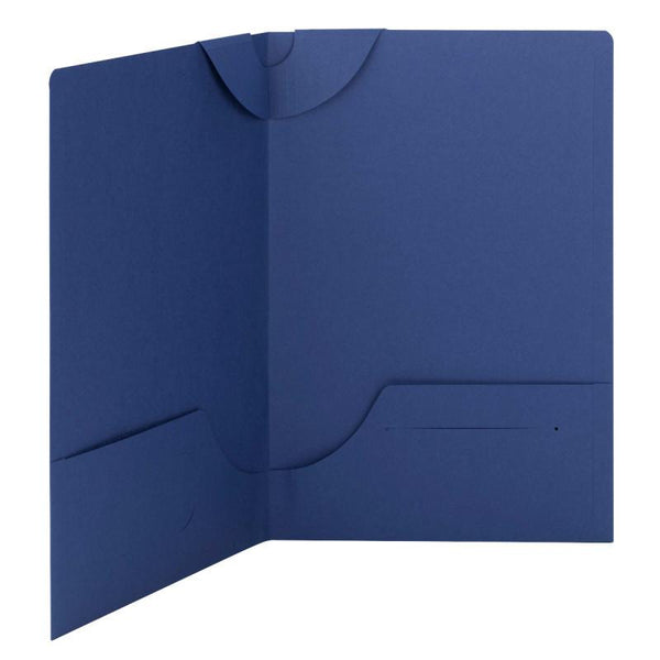 Box of 25 Smead Lockit® Two-Pocket File Folders, Legal Size, Blue (87968)