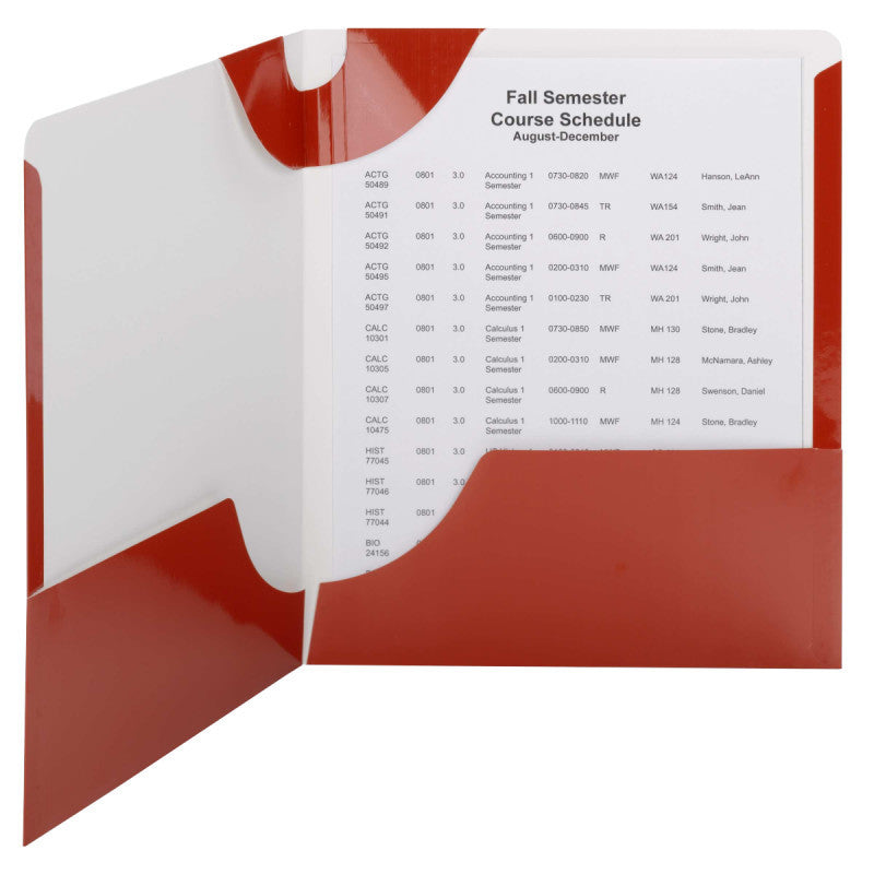 Carton of 50 Smead Lockit® Two-Pocket File Folders, Letter Size, Red (87985)