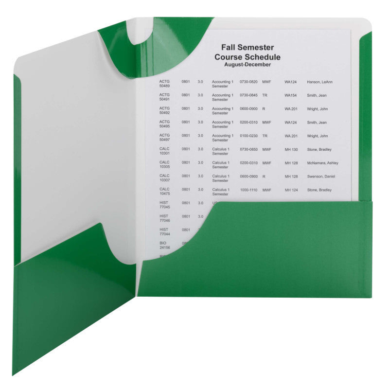 Carton of 50 Smead Lockit® Two-Pocket File Folders, Letter Size, Green (87995)