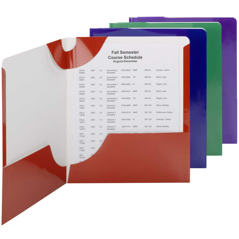 Carton of 48 Smead Lockit® Two-Pocket File Folder, Letter Size, Assorted Colors,  (87998)