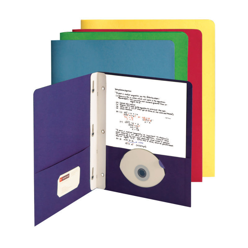 Carton of 50 Smead Economy Two-Pocket File Folders, Tang Strip Style Fastener, Assorted Colors (88051)