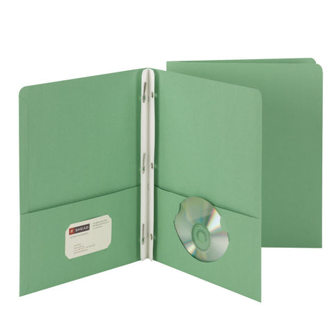 Box of 25 Smead Two-Pocket Heavyweight Folders, Tang Strip Style Fastener, Green (88055)