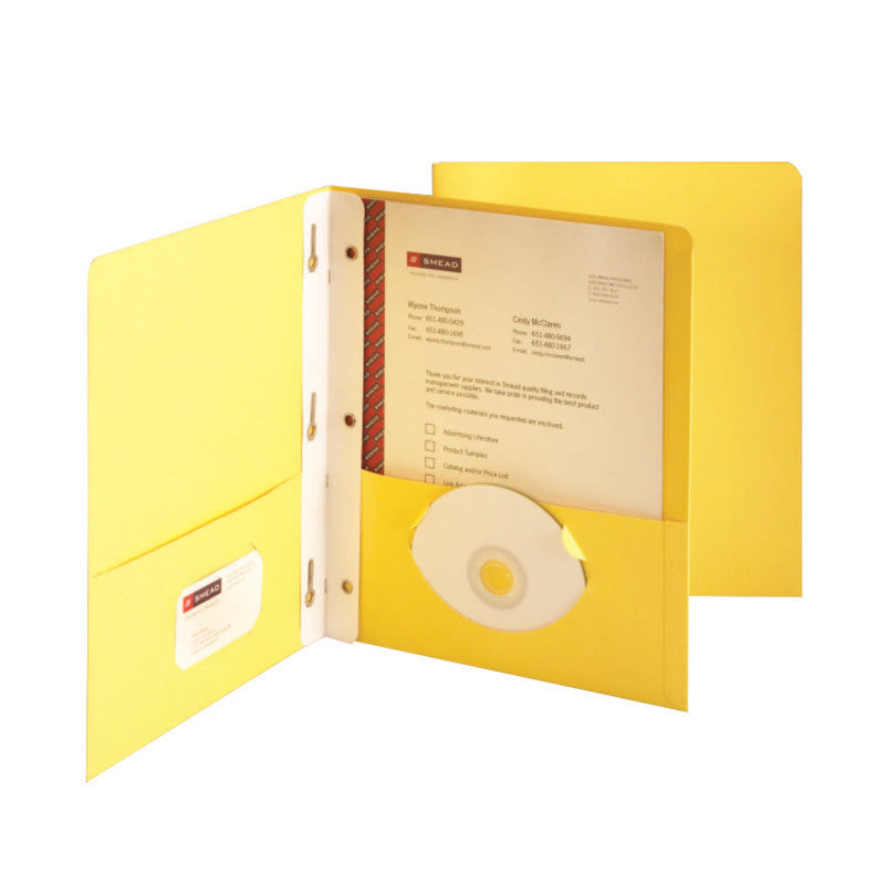 Box of 25 Smead Two-Pocket Heavyweight Folders, Tang Strip Style Fastener, Yellow (88062)