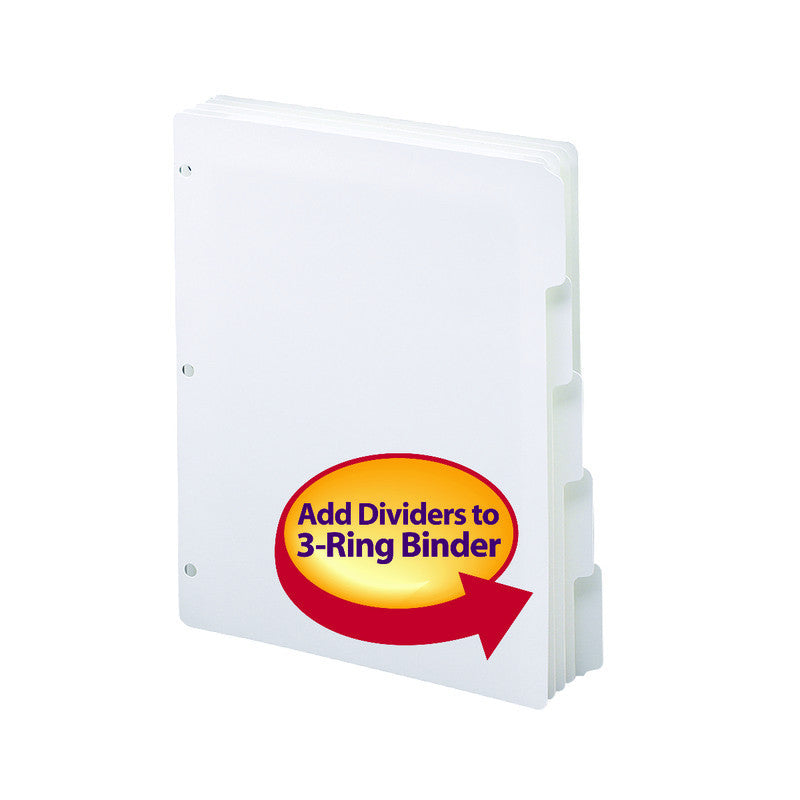 Smead Three-Ring Binder Index Dividers, 1/5-Cut Tabs, Letter Size, White,  Box of 20 Sets of 5 Dividers (89415)