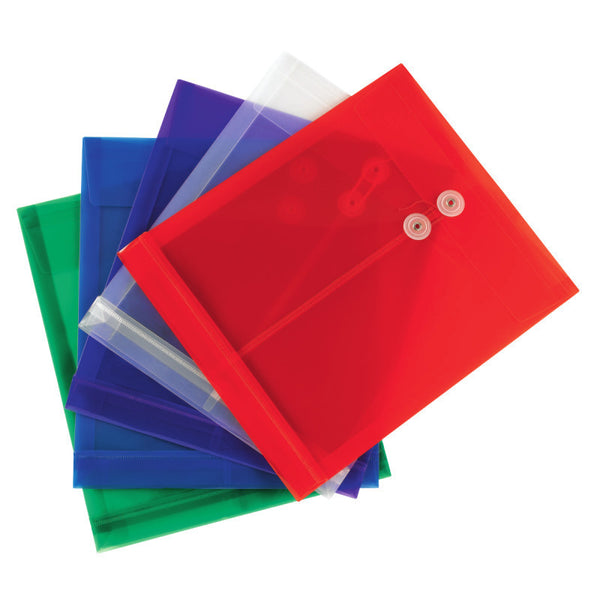 Smead Poly Envelope, Letter Size, 5 per Pack, Assorted Colors (89501)