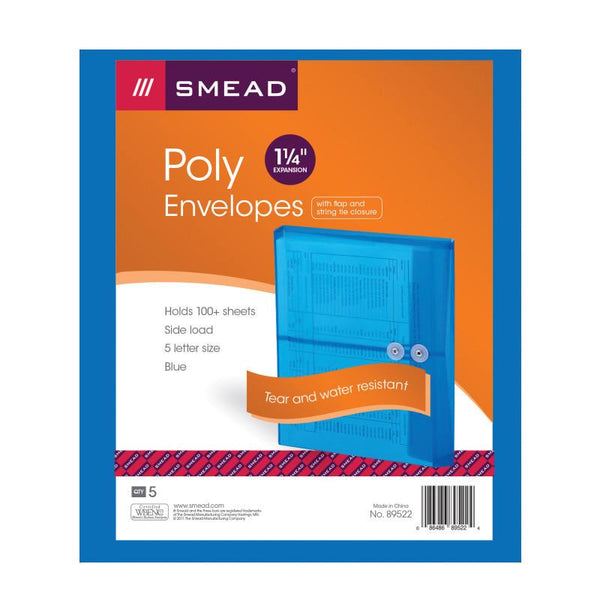 "Smead Poly Envelope, 1-1/4"" Expansion, String-Tie Closure, Side Load, Letter Size, Blue, 5 per Pack (89522)"